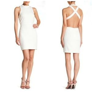 Endless Rose Mock Neck Bodycon White Mini Dress M